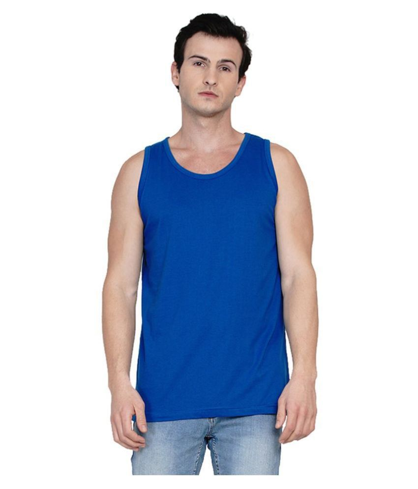 Knits and Weave Blue Sleeveless Vests Single
