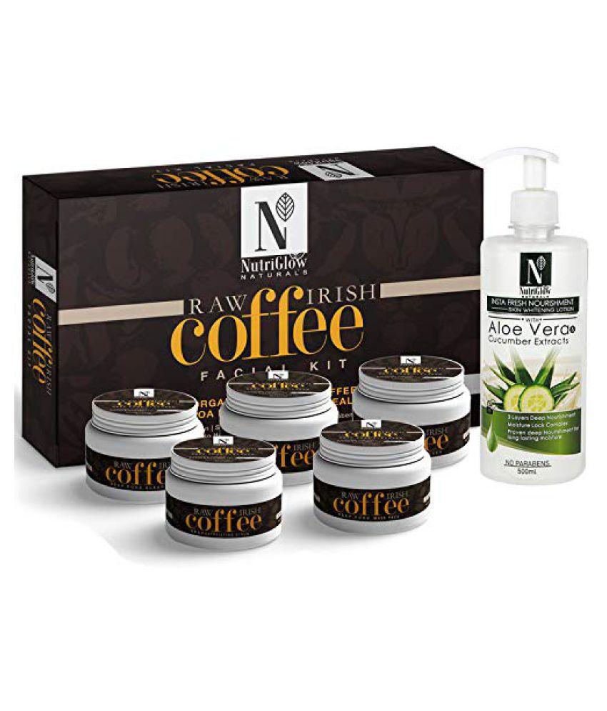 NutriGlow NATURAL'S Raw Irish Coffee Facial Kit (260gm) Aloe Vera & Cucumber Lotion (260gm) Facial Kit g Pack of 2