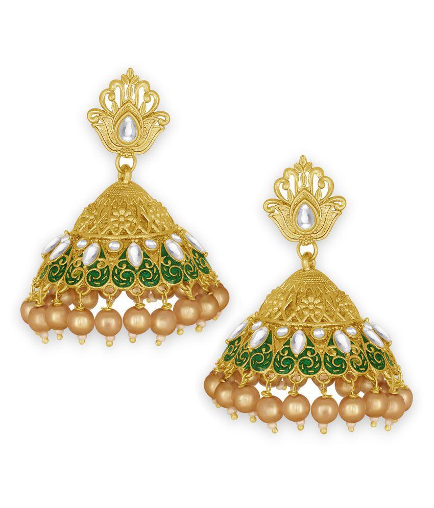 Spargz Classic Festive Wear Gold Plated Kundan & Pearl Jhumki Earring For Women TER_169