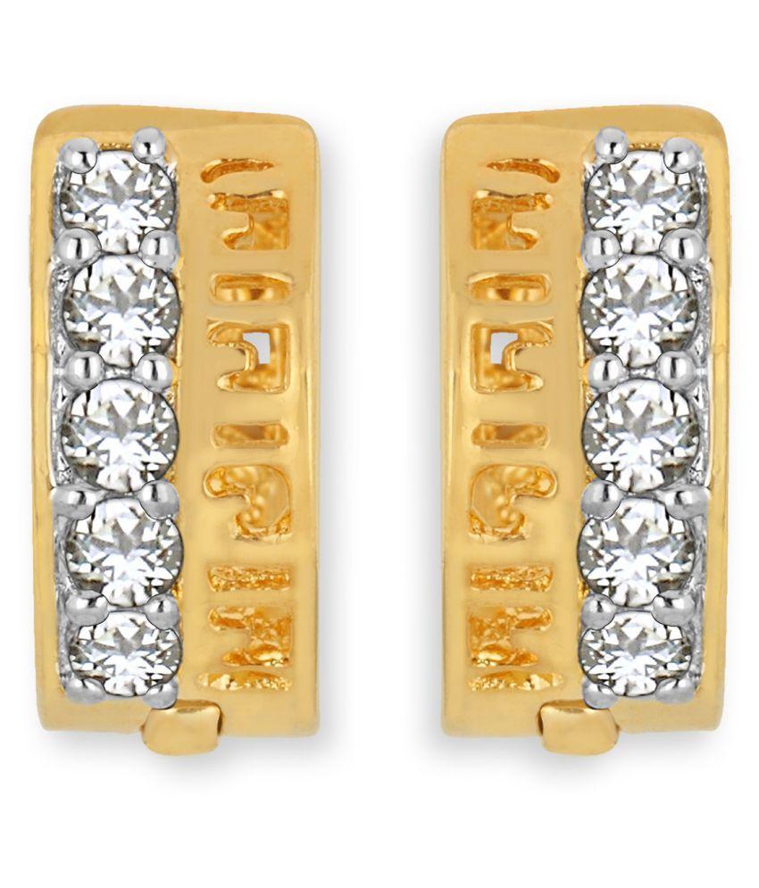 Spargz Designer Daily Wear Brass Gold Plated CZ Stone Huggie Earring For Women OER_5232