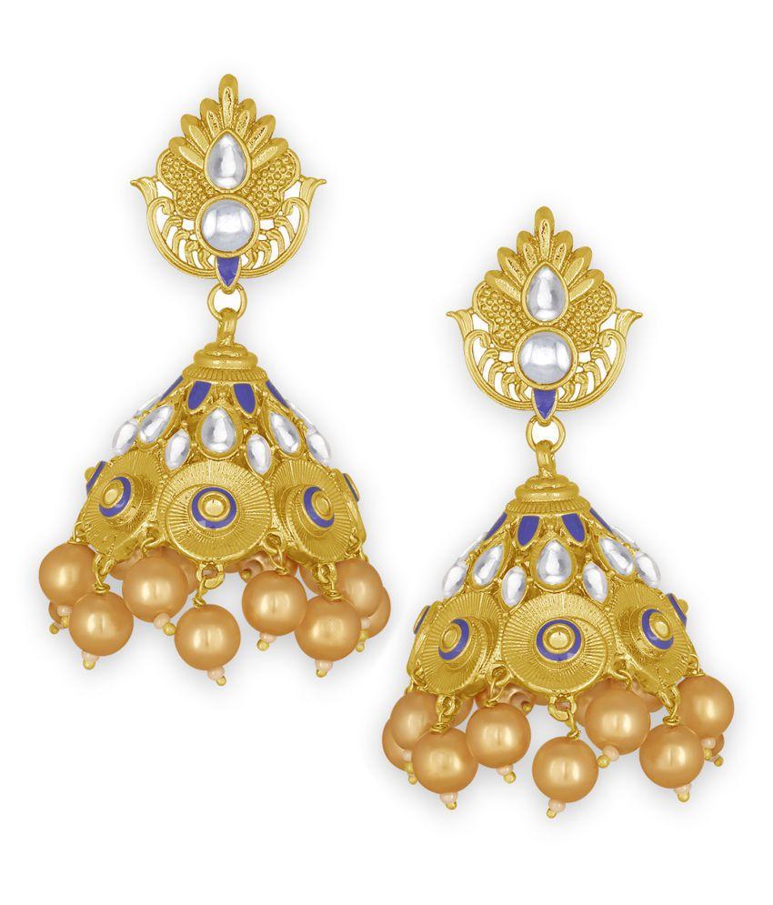 Spargz Designer Festive Wear Gold Plated Kundan & Pearl Jhumki Earring For Women TER_170