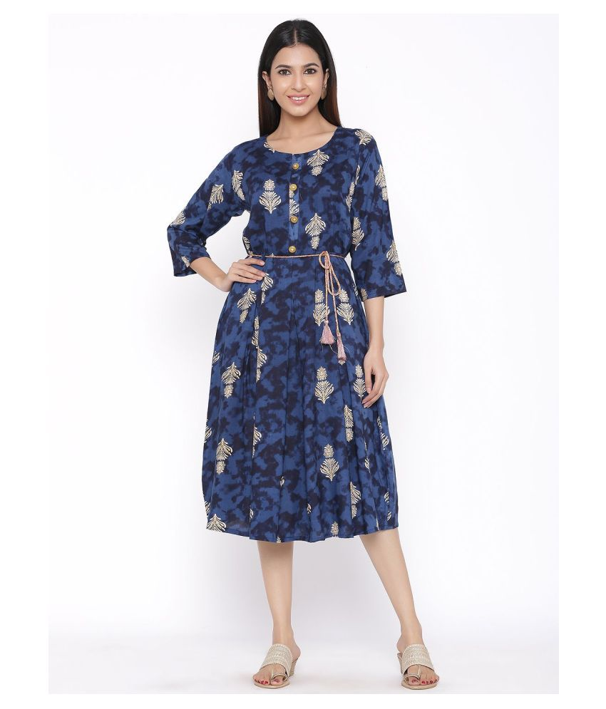 DAAVI Rayon Blue Regular Dress