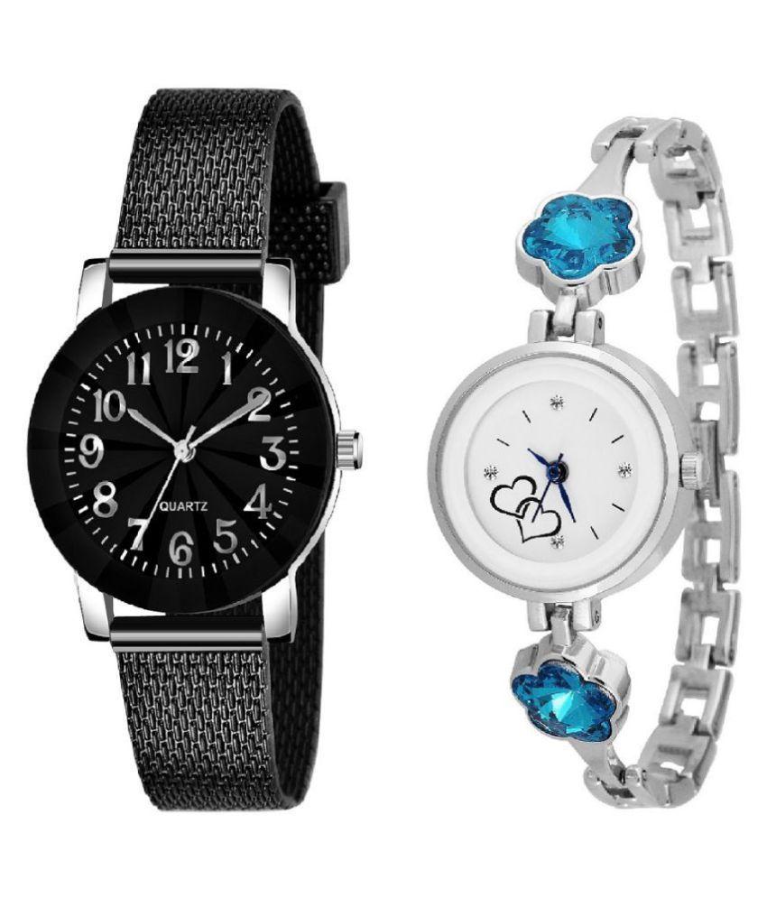 DECLASSE Girls Designer Black Silicone with Blue Blossom stylish Stone studded Analog watch