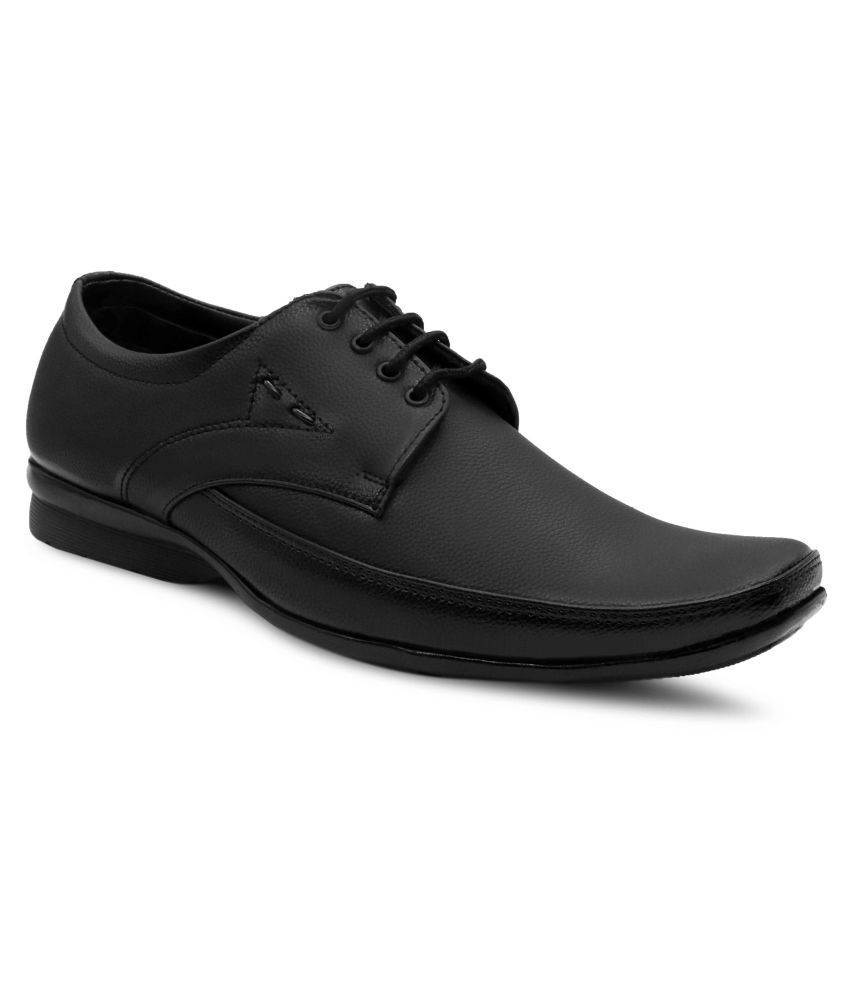 Fitson Derby Artificial Leather Black Formal Shoes