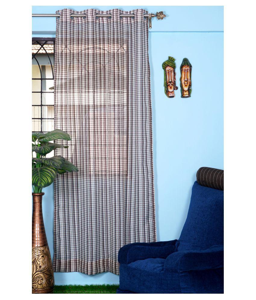 PardaOnline Single Window Transparent Eyelet Net Curtains Brown