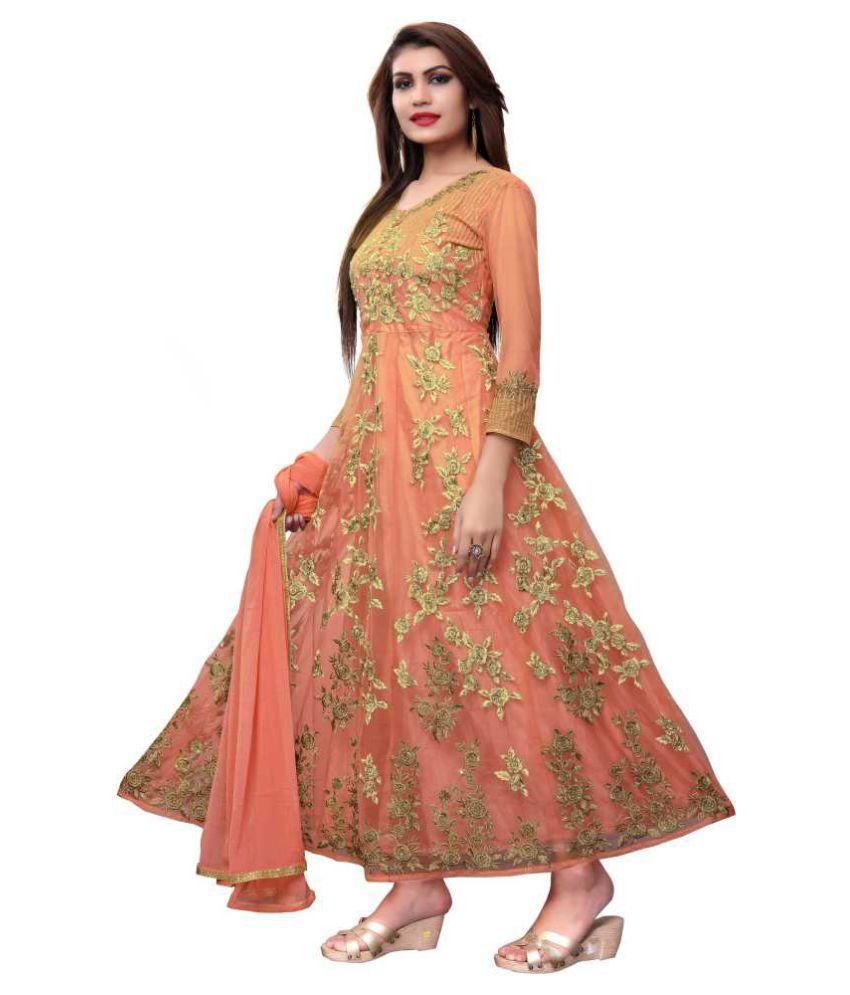THE 9192 Orange Net Anarkali Semi-Stitched Suit