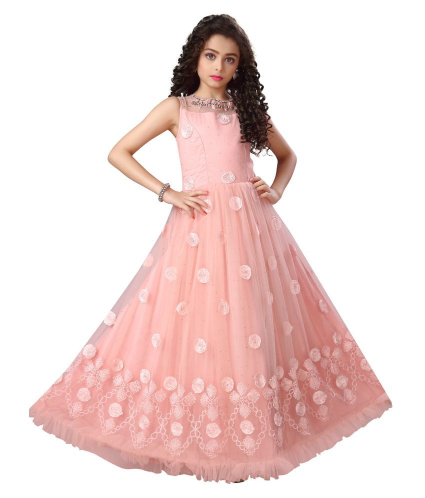 any kids Girls Full Net with Satin Silk Embrodery Work Gown Dress