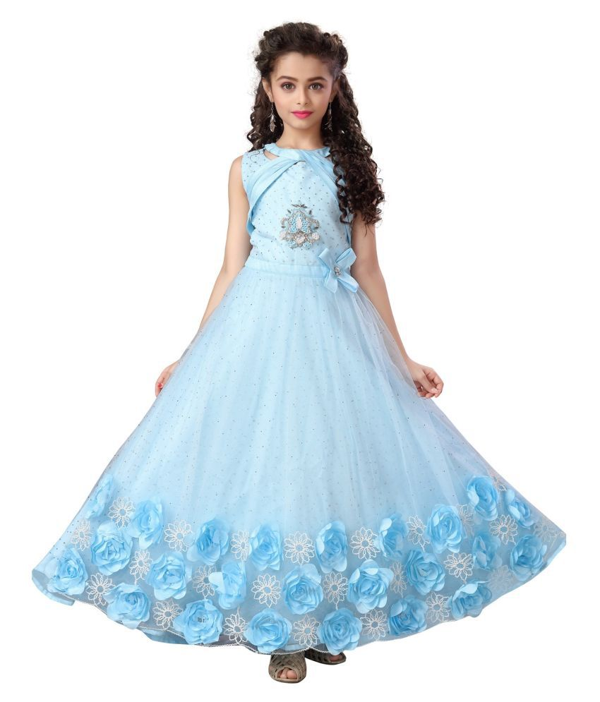 any kids Girls Full Net with Satin Silk and Ribbin Embrodery Work Gown