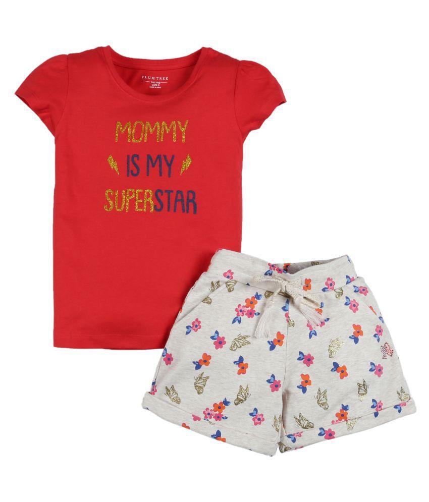 Plum Tree Girls Half Sleeve Mommy Superstar Print T-shirt and Short( Pack of 2)