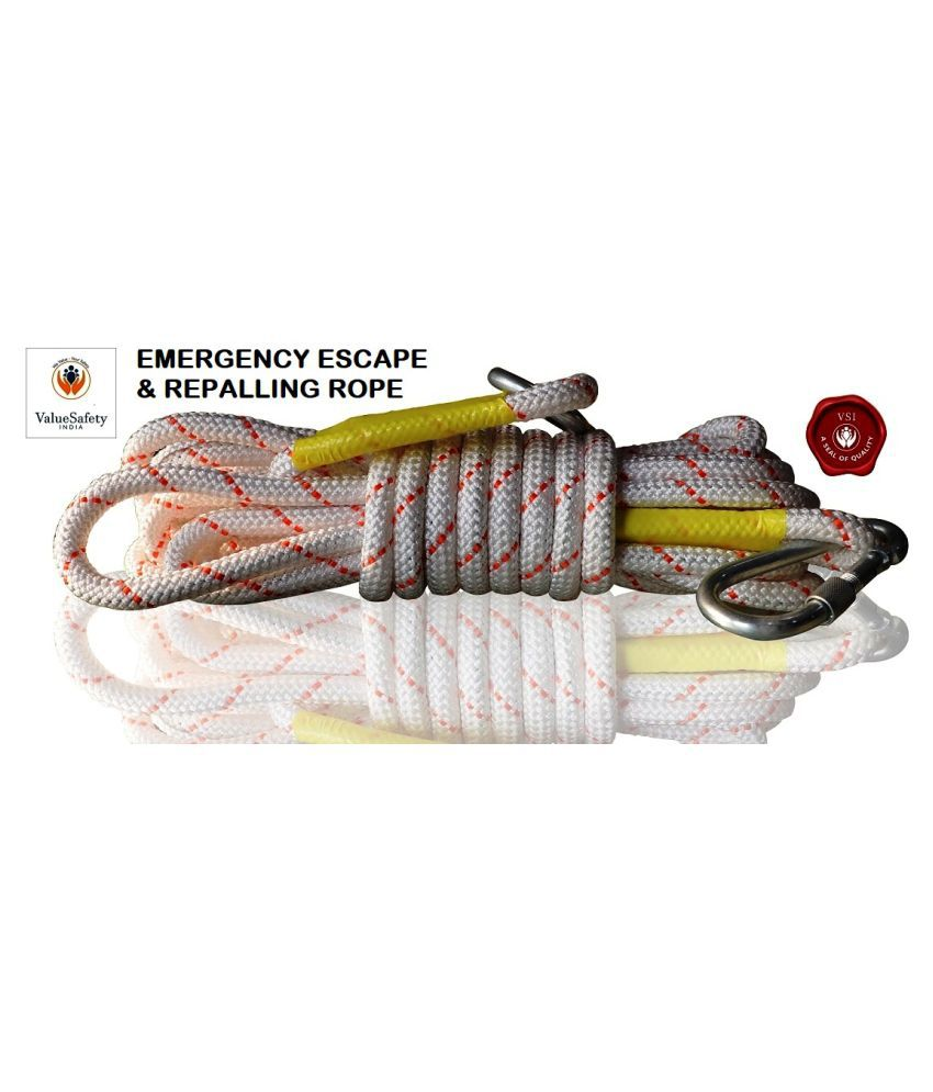 VALUESAFETY INDIA VSI 10M ROPE White NYLON&3MM STEEL Climbing Rope