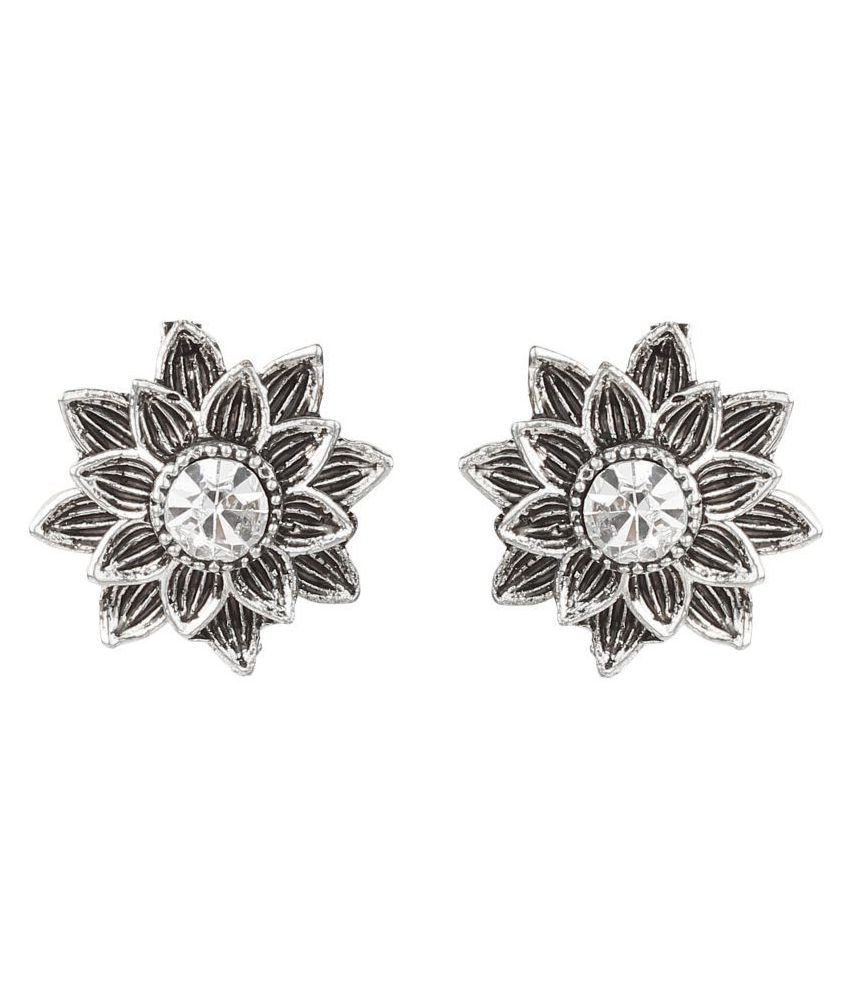 FLINGDOM Stunning Fashion Clip On Earrings for Non Piearced Ears for Women & Girls; Plating: Oxidized; Color: Silver; Size: 16 X 16mm; Wt.: 3gm. (27EC011A058)