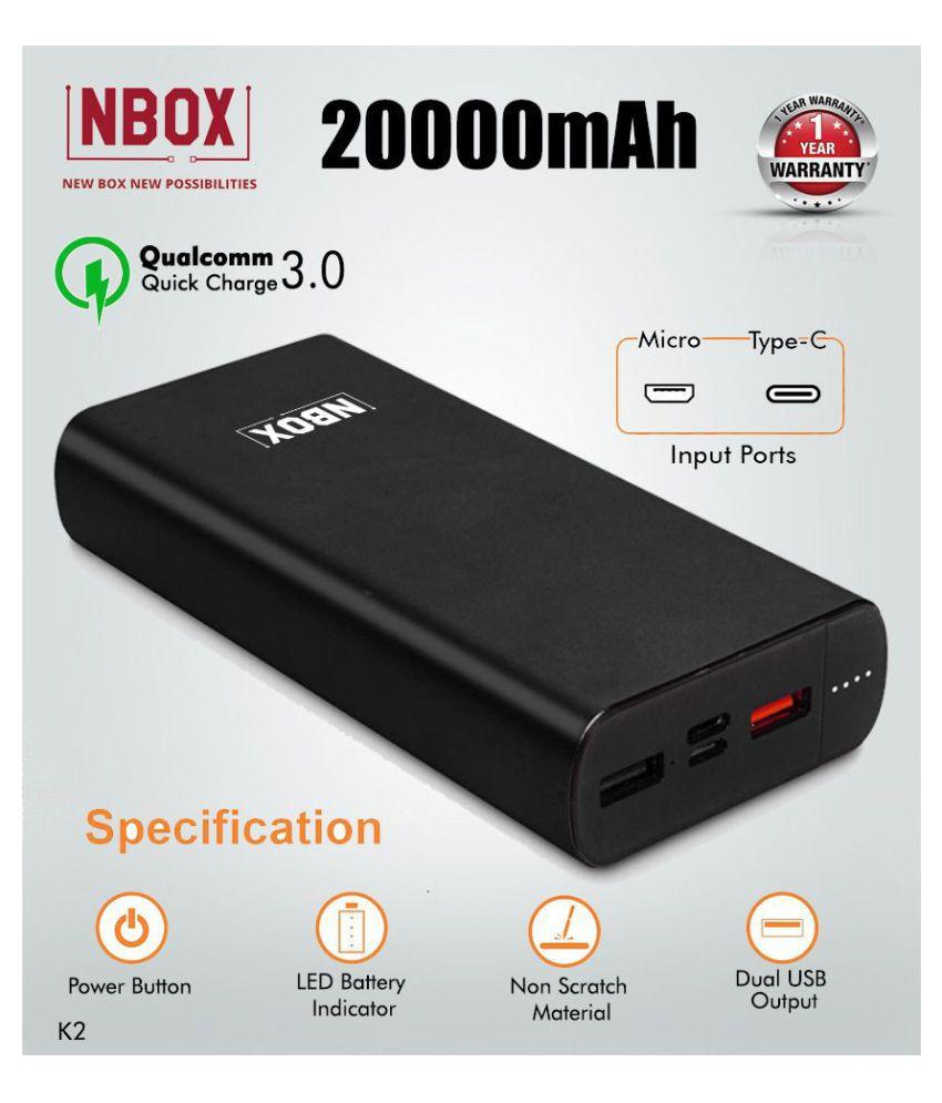 NBOX K2 Qualcomm Quick Charge 3A 20000  mAh Li Polymer Power Bank With Type C  amp; Micro USB Inputs  Black
