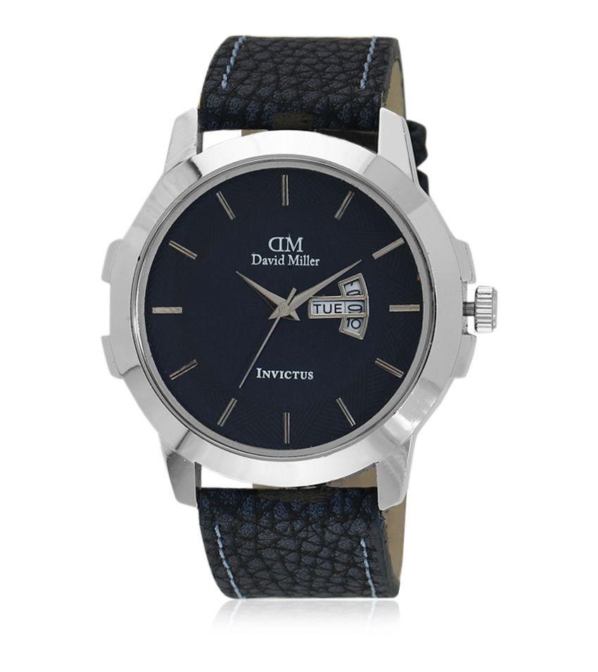 David Miller Blue Dial Blue PU Leather Strap Men's Watch - DMRCM56