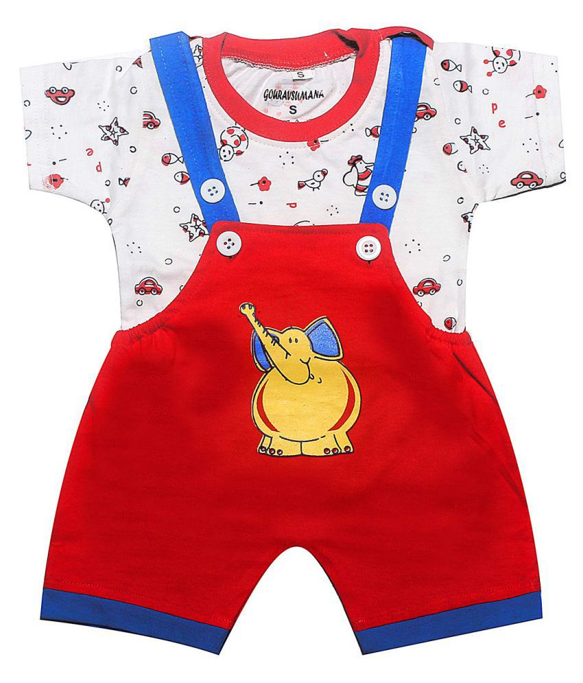 GOURAVSUMANA Baby Boy's and Baby Girl's Printed Cotton Dungaree Romper (Red & White; 3-6 Months) Pack of 1