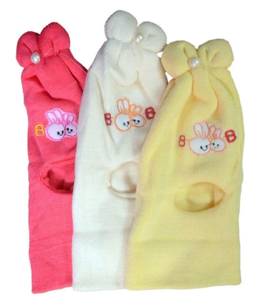 ANKIMA Baby Boy's and Baby Girl's Soft Woolen Cap (Multicolor; 0-3 Months) Pack of 3