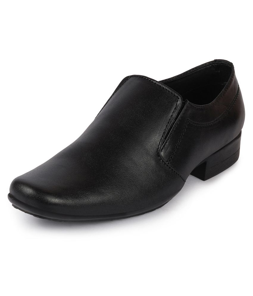 Fausto Slip On Genuine Leather Black Formal Shoes