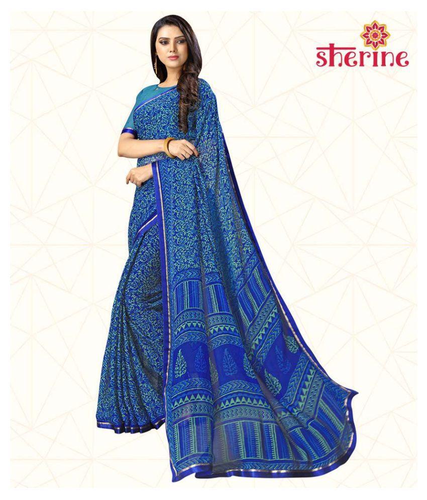 Sherine Blue Chiffon Saree