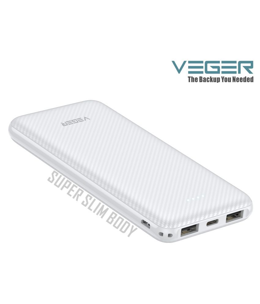 VEGER W1059 Slim Body 10000 -mAh Li-Polymer Power Bank White