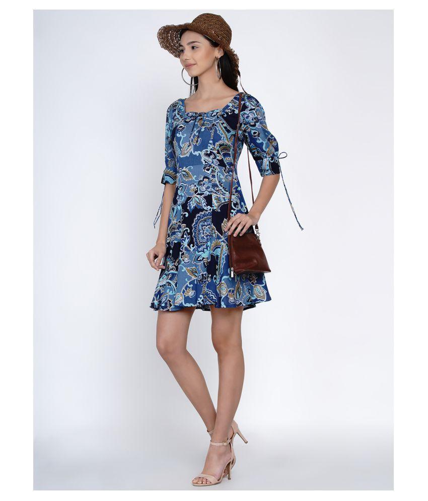 Abiti Bella Rayon Blue A- line Dress