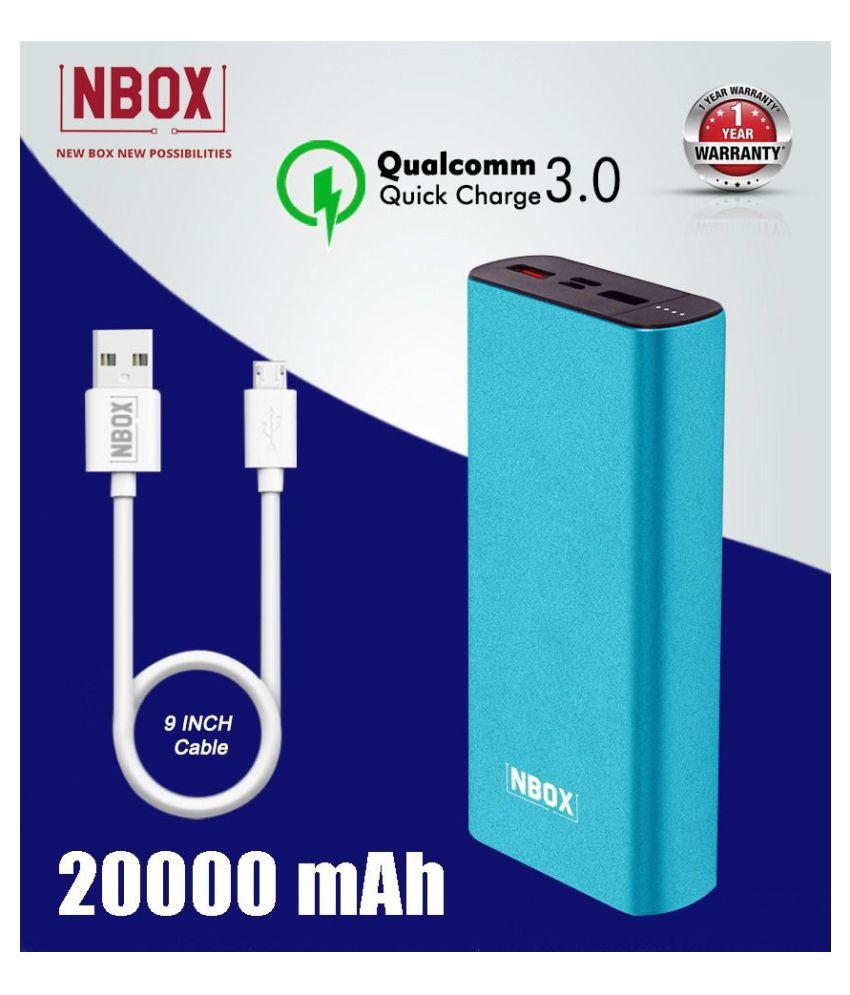 NBOX K2 Qualcomm Quick Charge 3A 20000 -mAh Li-Polymer Power Bank With Type C & Micro USB Inputs- Cyan Blue