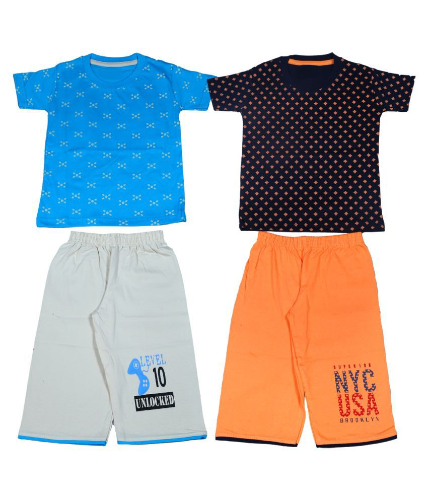 1ly Garments, Boys Round Neck T-Shirt with Three Fourth Shorts in two different colors (Black,Blue)