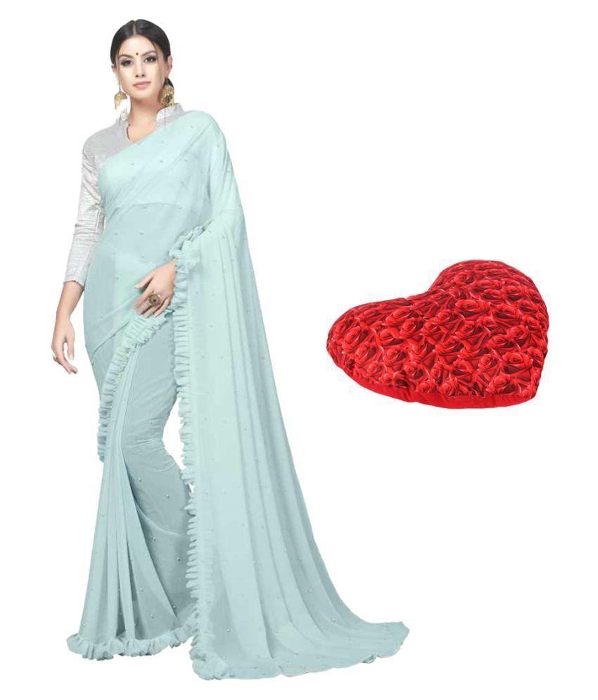 Sane Moda Blue Chiffon Saree