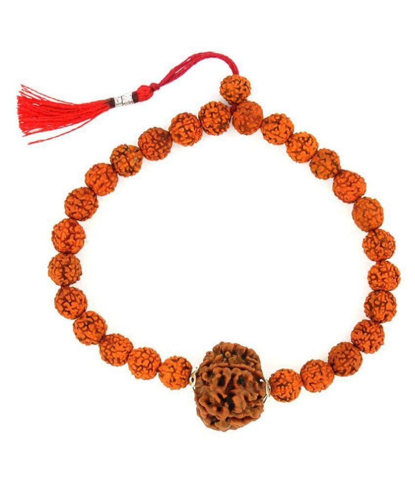 Aura gems jewels Certified 5 Faced Brown Rudraksha Bracelets for Men and Women