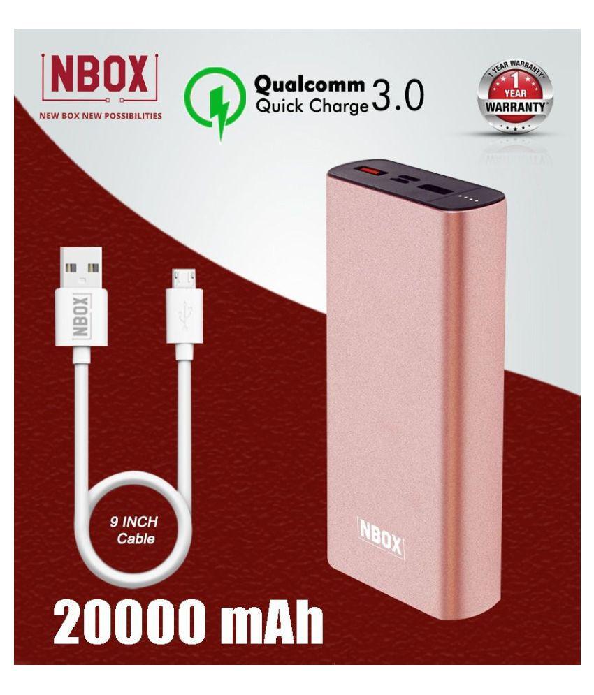 NBOX K2 With QC3.0 20000 -mAh Li-Polymer Power Bank Rose