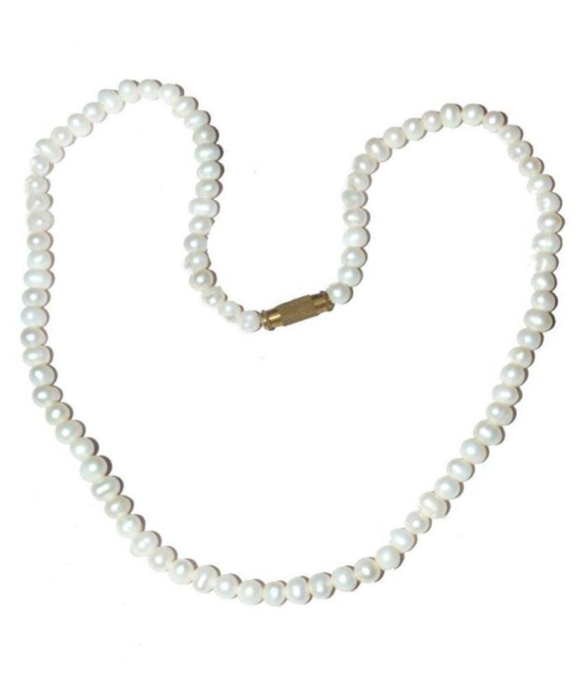 Natural Real Freshwater - Pearl Moti Stone Necklace Mala Beads Size ( 4MM 16 Inch Lenght) Ideal Gift for Girls