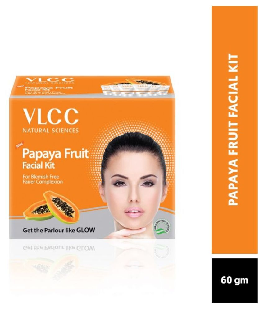 VLCC Papaya Fruit Facial Kit For Blemish Free Fairer Complexion (60 g)