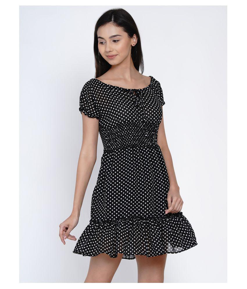 Abiti Bella Georgette Black A- line Dress