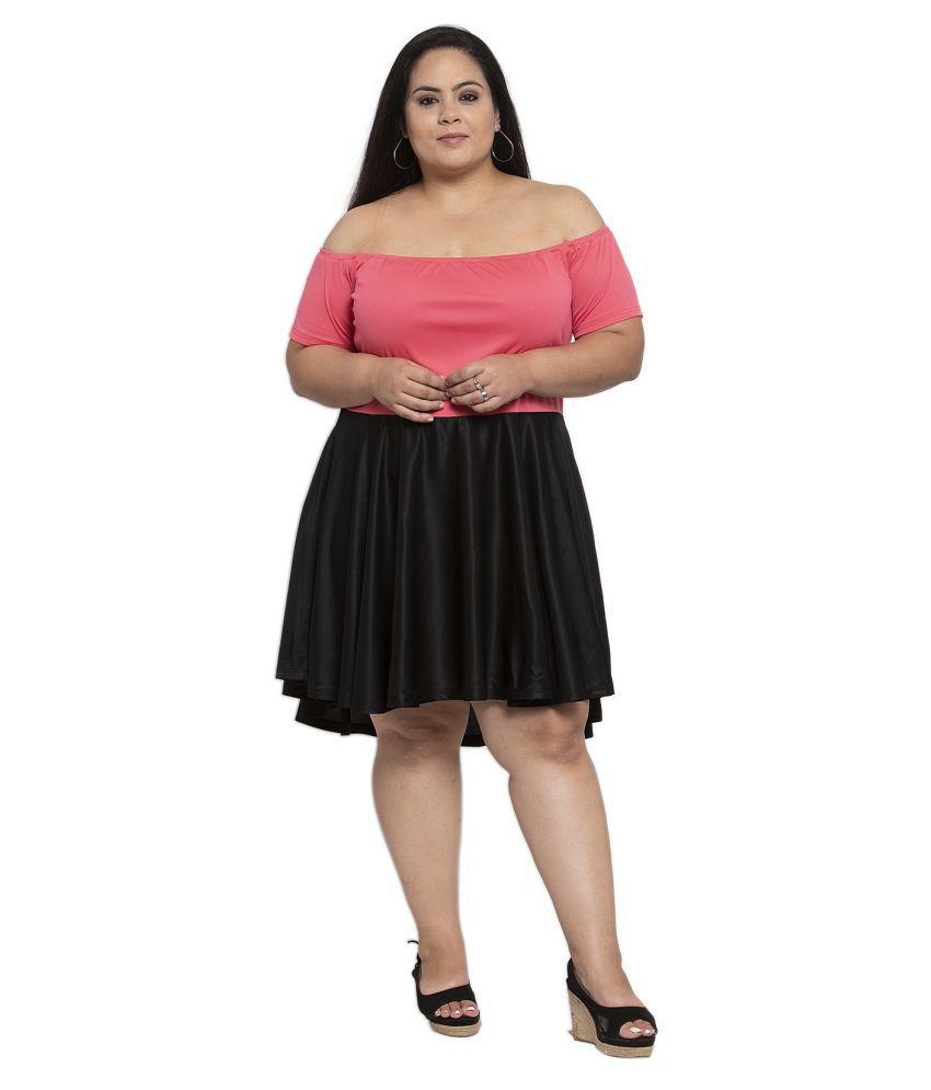 FLAMBEUR Polyester Black Regular Dress
