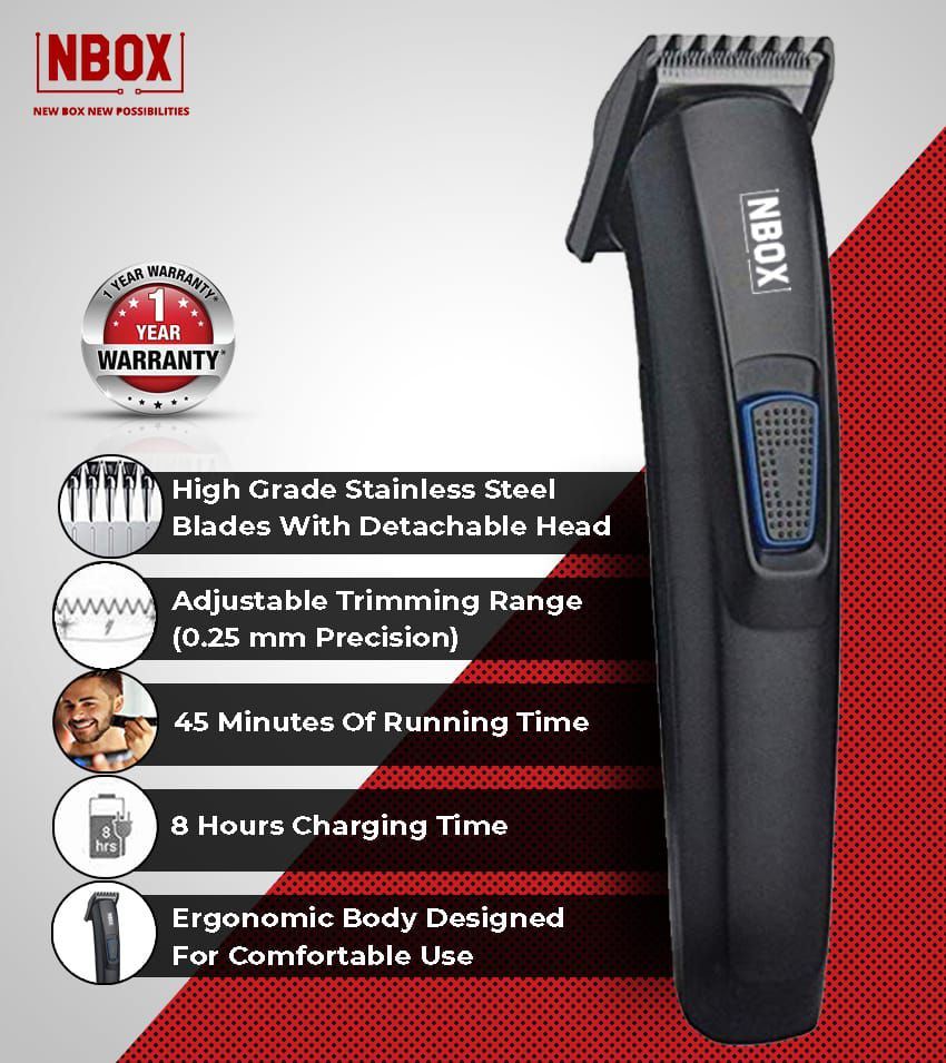 NBOX Rechargeable  amp; Cordless Beard Trimmer for Men With 45 mins Run Time  amp; USB Charging