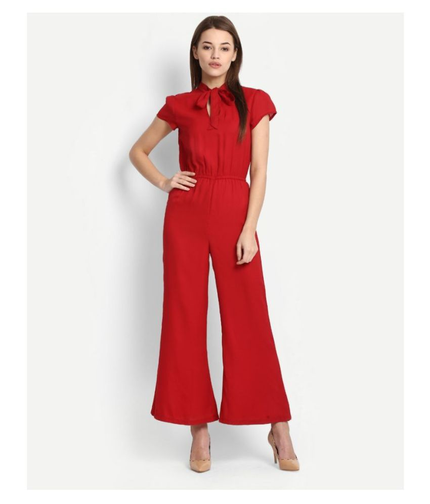 GLAMPUNCH Red Crepe Jumpsuit