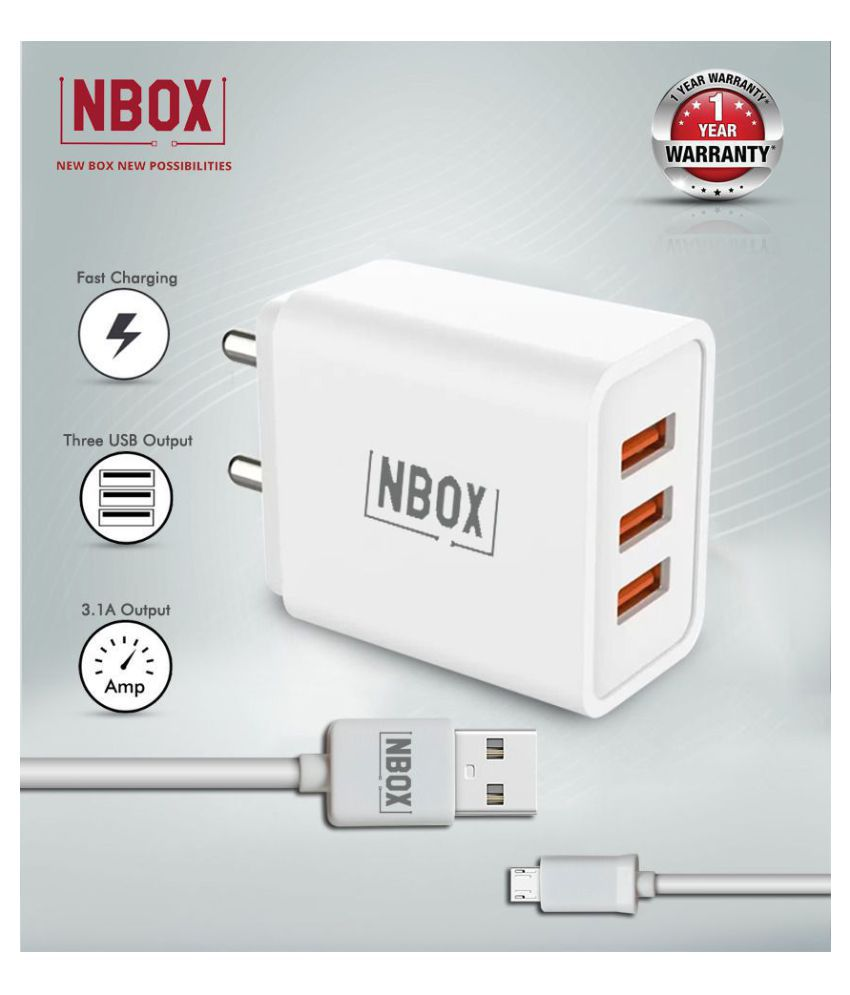 NBOX 3.1A Triple USB Wall Charger with 3A Micro USB Cable  White