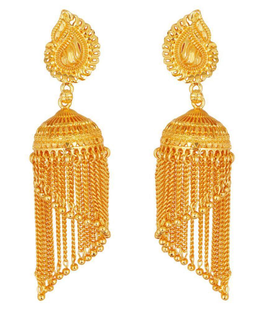 ZIKU JEWELRY One Gram Gold Plated Brass Metal 8 Centimetre Long Jhalar Jhumki For Women & Girls