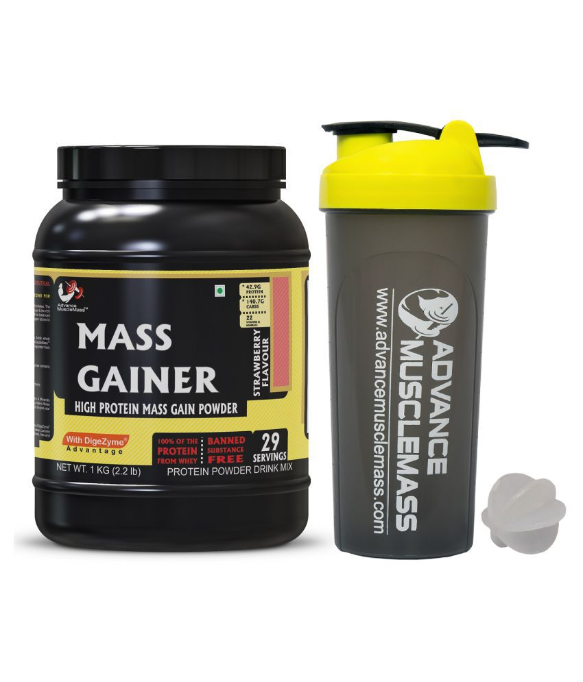 Advance MuscleMass Mass Gainer Strawberry 1 kg  with Shaker 700 ml. 1 kg Mass Gainer Powder