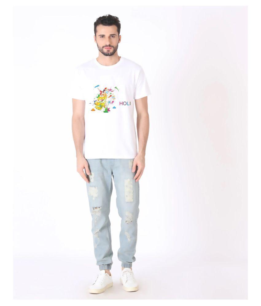 Ratawood Polyester Cotton White Printed T-Shirt