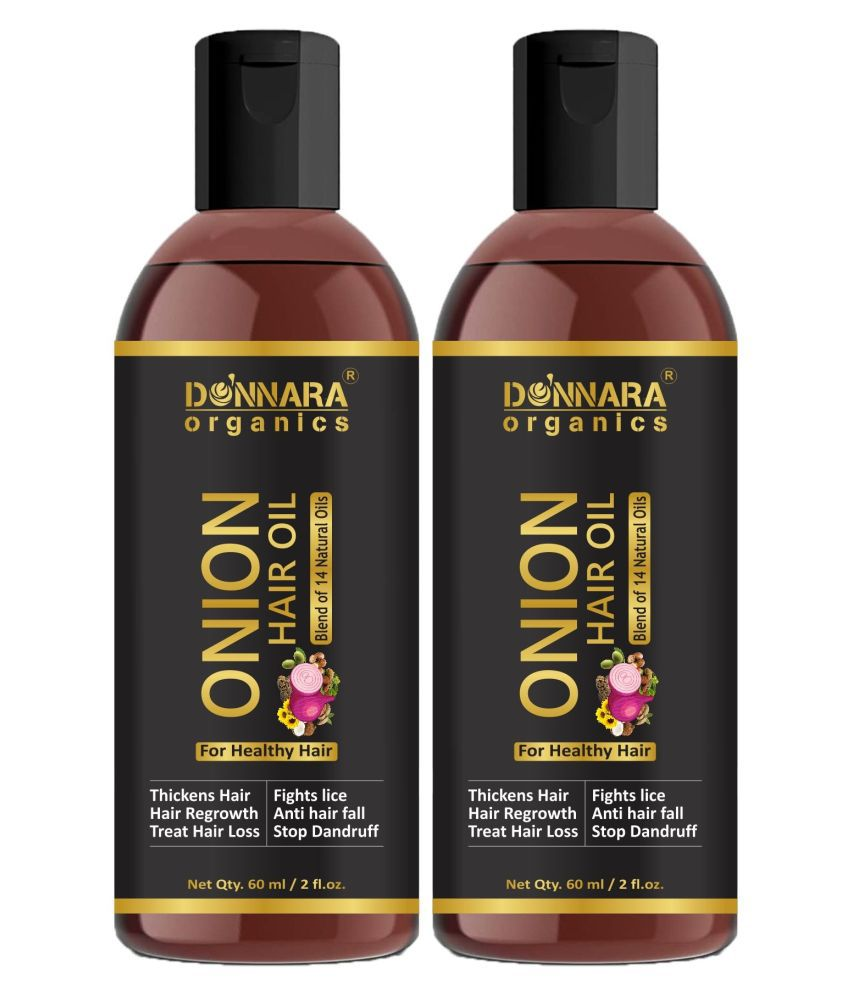 Donnara Organics ONION Hair oil -Blend of 14 Natural oils - For Regrowth 120 mL Pack of 2