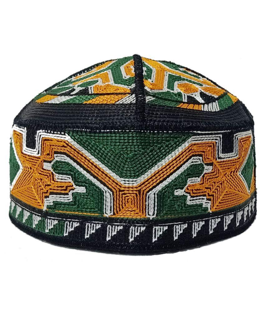 Pakistani Namazi Embroidered AARI Designed  Muslim Islamic Prayer Topi Green Embroidered Cotton Caps