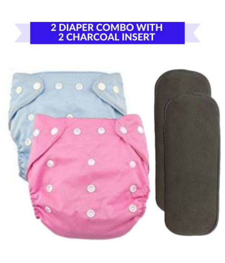 CHILD CHIC Reusable Baby Infant Cotton Cloth Washable Diaper Nappies(2 DIAPERS WITH 2 FIVE LAYER BAMBOO CHARCOAL INSERTS)