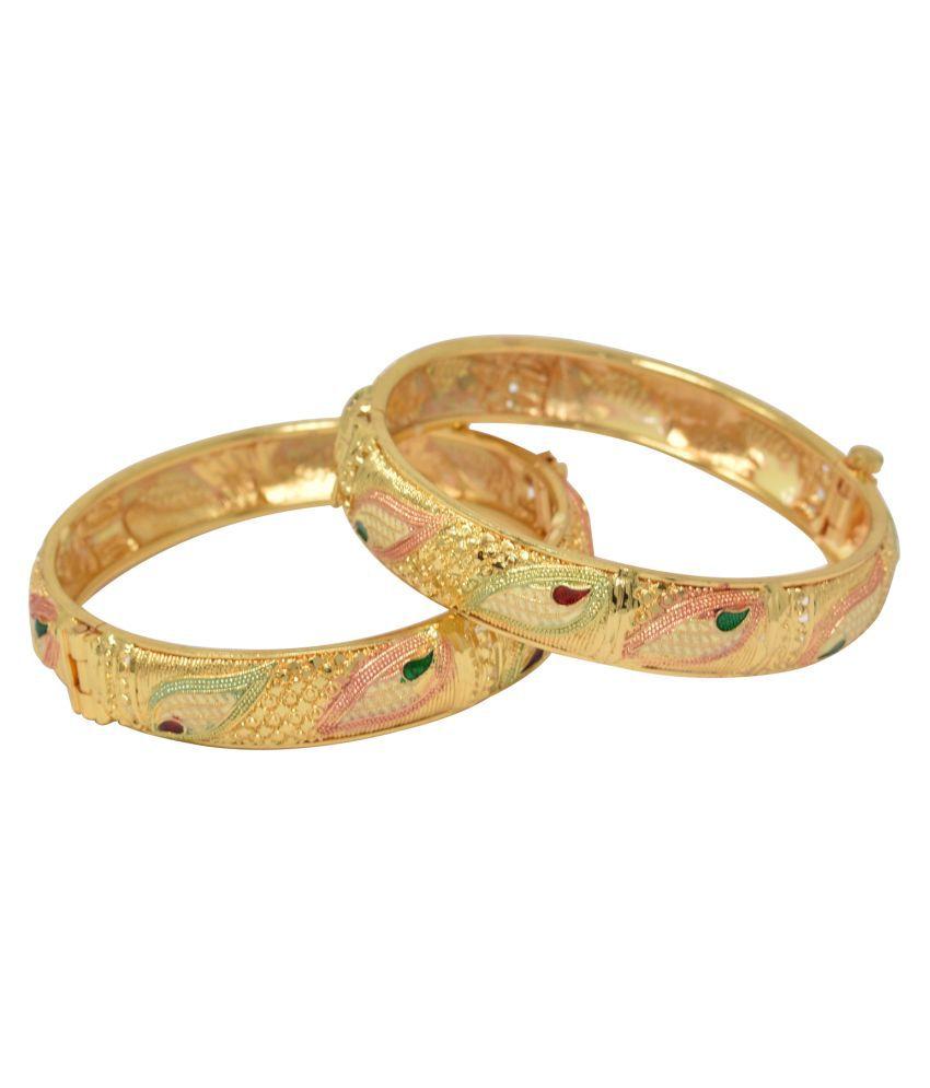 Traditional & Designer Gold Plated Real Look Kada Bangle Set for Women's/Girls- Set of 2
