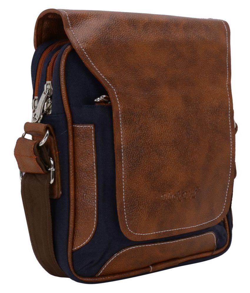 Blackbird Small Sling Bag Blue Canvas Briefcase