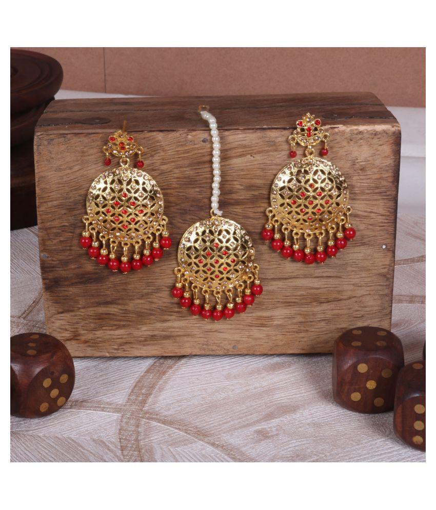 Gold Plated Earrings and maang tikka set