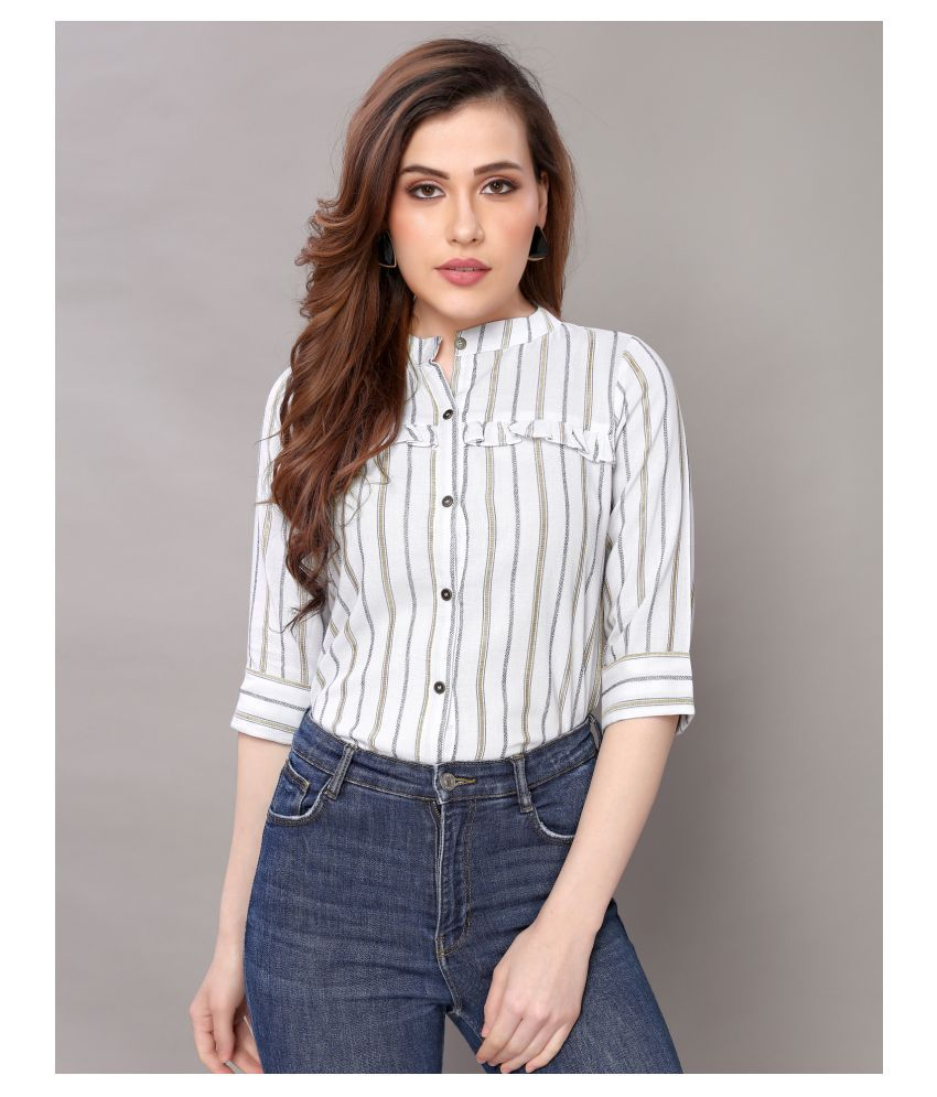 Selvia Off White Cotton Blend Shirt