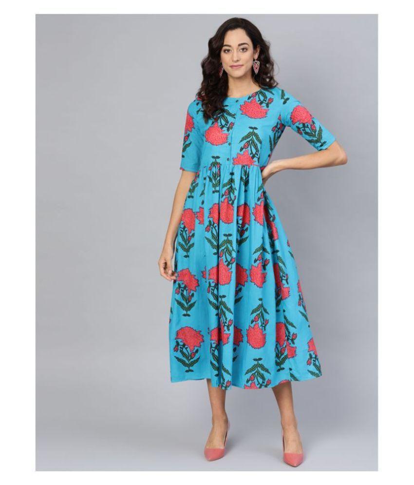 myshka Cotton Blue A- line Dress
