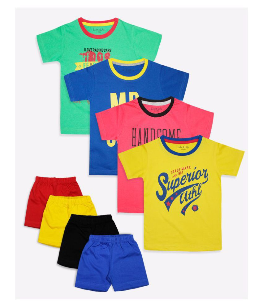 Luke and Lilly Boys Cotton Half Sleeve Tshirt and Shorts - Set of 4