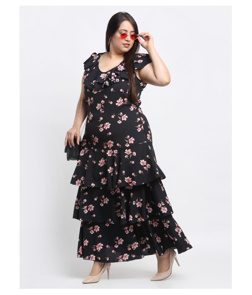 FLAMBEUR Crepe Multi Color Fit And Flare Dress