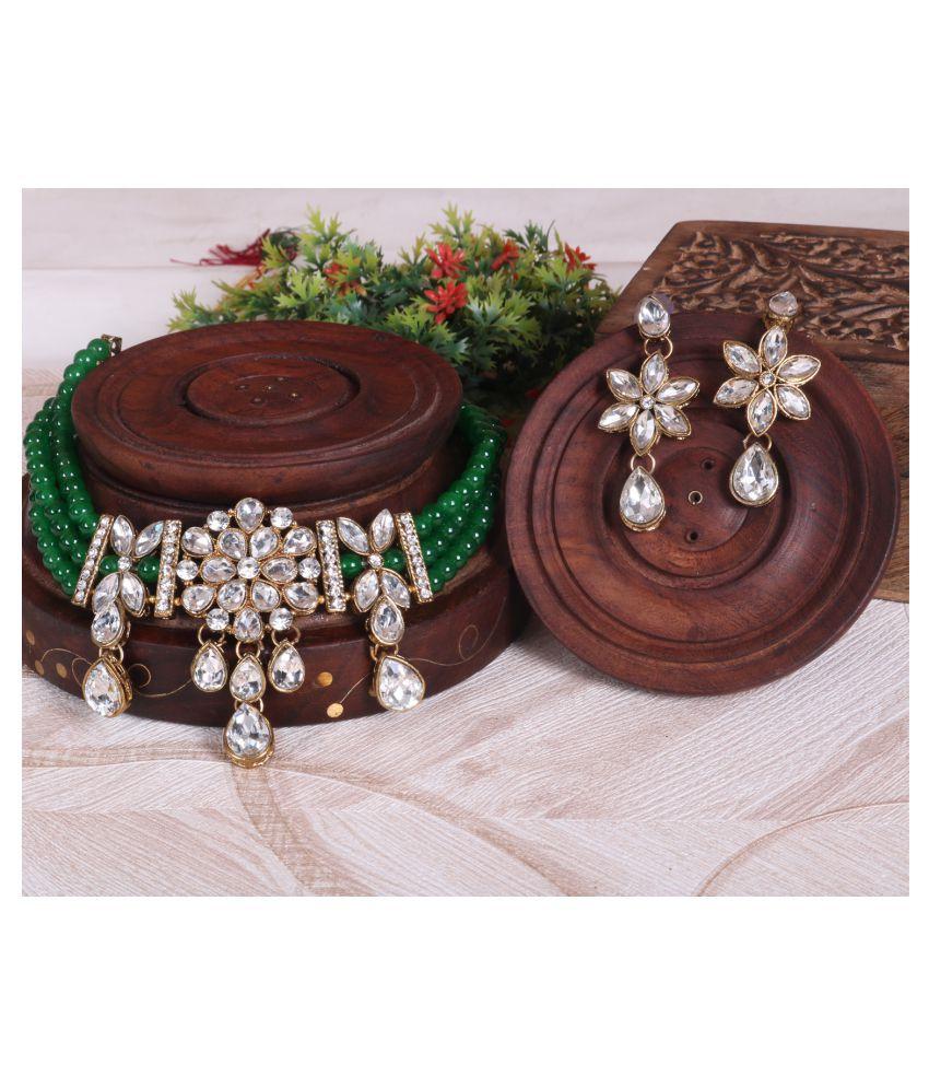 Jaishree Jewels Alloy Green Traditional Necklaces Set Choker