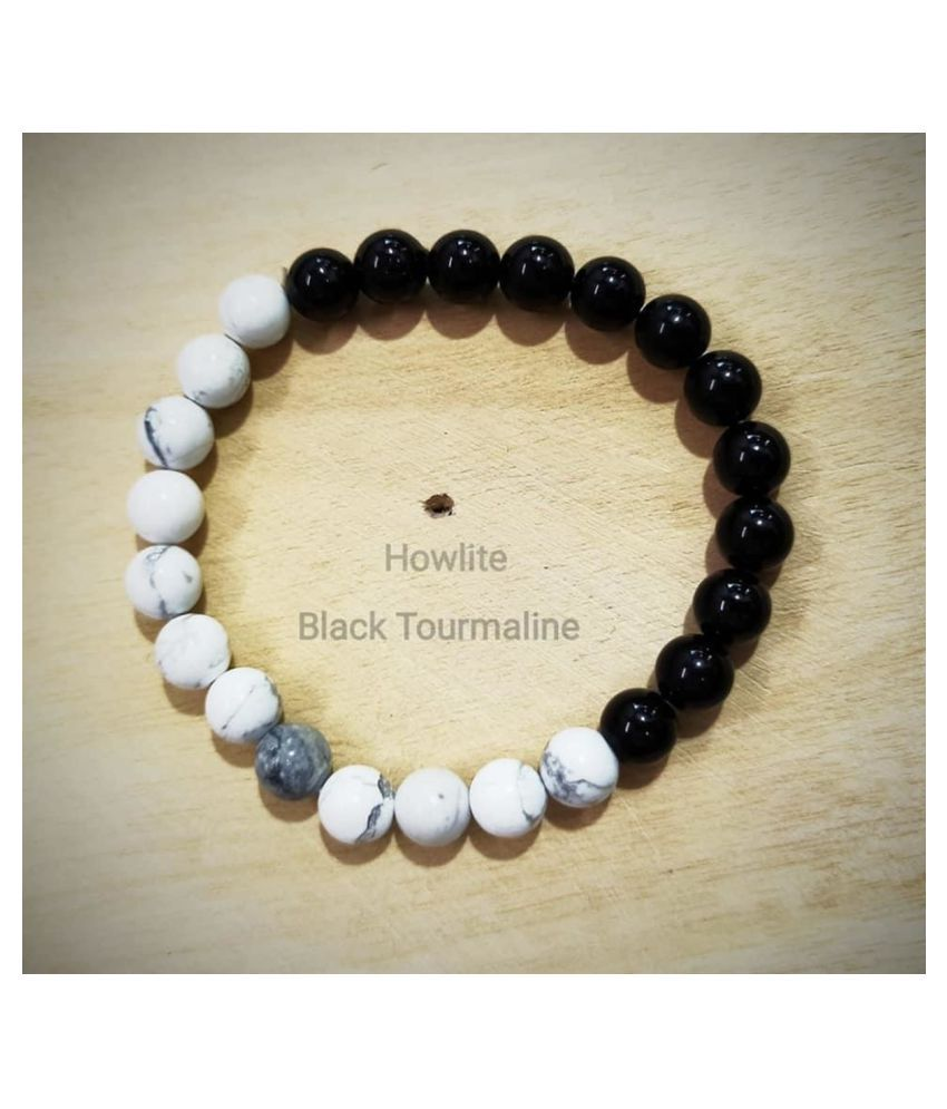 8mm White Howlite and Black Tourmaline Natural Agate Stone Bracelet